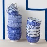 Bol en porcelaine blanche (par 3) motifs bleu Serax 2 tailles