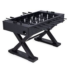 Z Gallerie partnered with one of the most reputable and finest construction game room furniture makers in the world. Our exclusive foosball is finished in a rich black stain with silver and black players. The combination of metal and wood gives this foosball table a unique look unavailable in the marketplace today. The custom playfield further accentuates the simple yet striking design.  Our Foosball Table is available online only and ships directly from our vendor