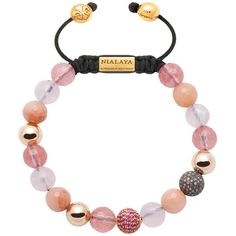 Women's 14k gold collection with cherry quartz and pink sapphire pave... ($2,669) ❤ liked on Polyvore featuring jewelry, pink quartz jewelry, gold jewellery, nialaya jewelry, beaded jewelry and 14k jewelry