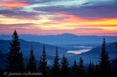 ~ Dawn at Spirit Lake ~ Spirit Lake, Idaho, viewed in early Autumn from Mt. Spokane, in the Selkirks, in Eastern Washington.