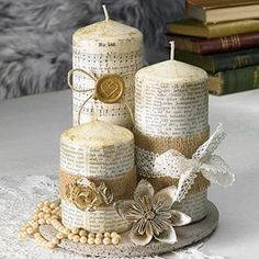DOs & DON'Ts How to Decoupage on Candles Beginners Tutorial ♡ Maremi's Small Art ♡ Buy Candles, Flameless Candles, Scented Candles, Pillar Candles, Candle Jars, Christmas Crafts, Christmas Decorations, Napkin Decoupage, Wedding Unity Candles