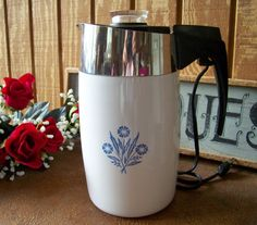 Vintage Cornflower 10 Cup Corning Percolator by tithriftstore