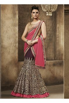Pink Georgette Wedding Wear Heavy Embroidery Work Lehenga Choli