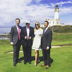 Eric, Donald, Ivanka, and Donald Trump Jr on the 9th green • Turnberry, Scotland • photo courtesy Donald Trump Jr.