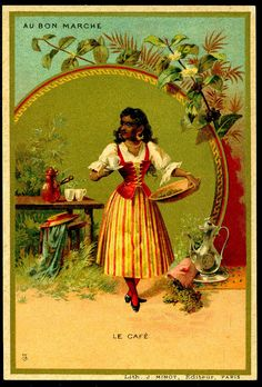 """French Tradecard - Coffee. Au Bon Marche """"Drinks"""" issued in 1895."""