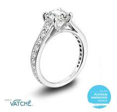 Designs by Vatché signature platinum and diamond engagement ring. JCK 2012 Platinum Innovation Awards Winner.