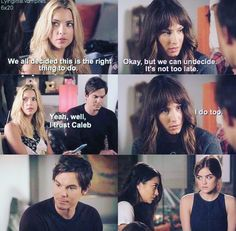 Pretty Little Liars Season 6. #5yearsforward Em and arias reaction to Hanna and spencer is priceless!