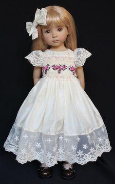 "Silk Smocked dress for 13"" Dianna Effner's Little Darling Dolls"