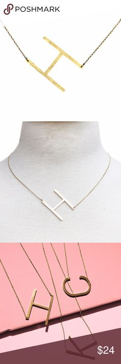 Ellison + Young Monogram Collection Necklace in H 16 inch necklace in gold-dipped brass with a 2 inch extender. This gold initial necklace adds a personal, elegant touch to any outfit, no matter the occasion. Its simplistic versatility makes it a gorgeous everyday staple. Jewelry Necklaces