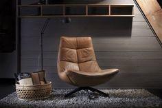 Cognac leren fauteuil Reflex met zwarte draaipoot - Alle Pilat