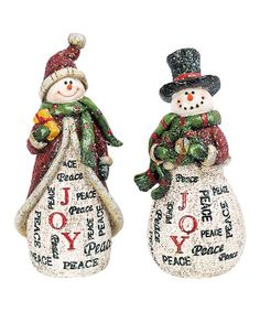 Take a look at this 5'' Holiday Word Snowman Figurine Set by Transpac Imports on #zulily today!