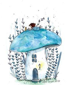 here's a tiny mushroom hous… - Art Sketches Doodle Drawings, Art Drawings Sketches, Doodle Art, Cute Drawings, Art Inspo, Art Du Croquis, Art Fantaisiste, Art Mignon, Mushroom Art