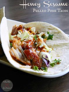 Honey Sesame Pulled Pork Tacos | www.momstestkitchen.com
