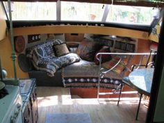 Converted Vintage Cabin Cruiser REDUCED PRICE interior shot boat converted to tiny home- for sale in Tennessee on Tiny House Listings