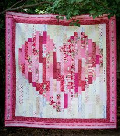 Bargello Quilt Patterns, Heart Quilt Pattern, Bargello Quilts, Beginner Quilt Patterns, Strip Quilt Patterns, Quilting For Beginners, Quilting Tutorials, Quilting Designs, Quilting Ideas