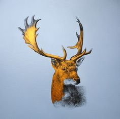 """Saatchi+Art+Artist+Louise+McNaught;+Painting,+""""Precious+(gold+stag)""""+#art"""