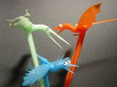 Birds from plastic straws.  I think they look particularly charming with googly eyes.