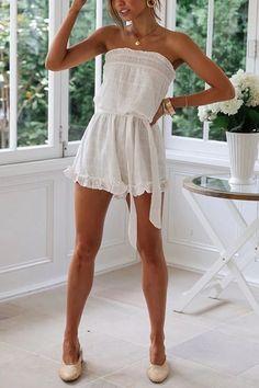 Romper Off Shoulder Romper, White Off Shoulder, Strapless Romper, Ruffle Romper, Boho Summer Dresses, Boho Dress, Boho Romper, Summer Clothes, Stylish Outfits