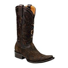 EDICIONES ESPECIALES CUADRA ~ Bota edición especial en piel genuina de hipopótamo pintada a mano con aplicación bordada en piel e incrustaciones de cristales Swarovski boots