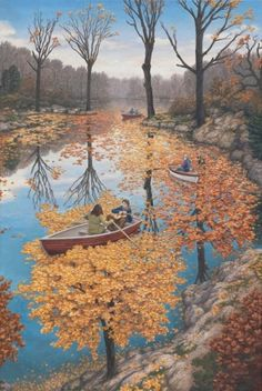 Fine art on canvas titled Fall Floating by Rob Gonsalves