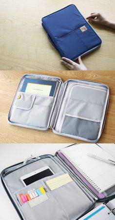 """A perfect set to fulfill my needs for organization and writing! This set comes with a super functional organizer with many useful pockets and a versatile lined notebook. The pouch allows you to carry your writing materials, notes, small items and even 13"""" laptops all together conveniently!"""