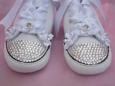 090ddf0cfca Items similar to FLOWER Girl Baby Converse White Leather Christening Shoe  Wedding Baptismal Swarovski Crystal Sneaker Infant Crib Bootie Size 1-4  Flowergirl ...