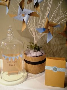 Baptism - candy bag table.