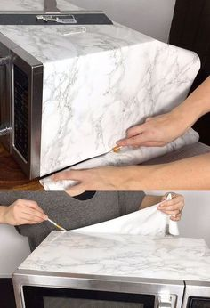 faux marble microwave with contact paper, appliances, flooring, tiling