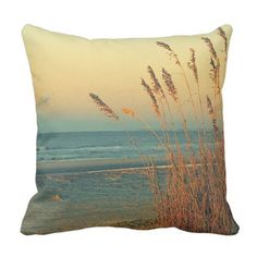 Florida Sandy Beach Grass Ocean Throw Pillow - photography gifts diy custom unique special