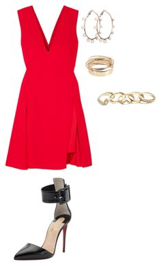 """""""Sin título #1636"""" by danareyesguido on Polyvore featuring moda, Versace, Christian Louboutin, Valentino y GUESS"""