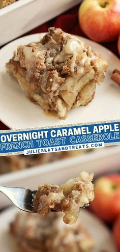 The holidays call for this easy, make-ahead recipe! Whipping up this delicious breakfast the night before lets you look like a rockstar on Christmas morning. You can't go wrong with this Overnight French Toast Casserole loaded with apples and topped with caramel sauce!