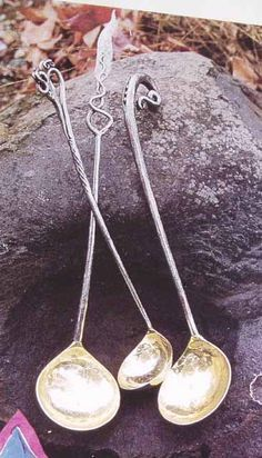 Bruce Pringle forged and polished steel and brass ladles