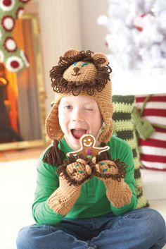 Loops & Threads® Impeccable™ Lion Hat and Mittens (Crochet)