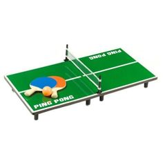 """Tabletop Ping Pong Tennis Game by Metro Design USA. $14.99. Compact and portable, this tabletop ping pong tennis table folds into one easy to carry unit will all contents packed neatly inside. Set includes a folding table with net, 2 paddles, and 1 ping pong ball. *measures: 20""""L x 12.25""""W x 4""""H"""