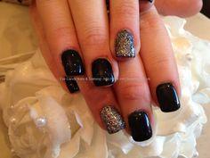 Black and charcoal glitter gelish gel polish over acrylic nails