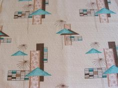 """This is a cool Midcentury Modern fabric dating to the 1950's. It is a medium weight cotton with a novelty texture, barkcloth-like weave. It features a geometric and atomic starburst interpretation of palm trees and cabana huts. Selvage is printed with """"CABANA""""."""