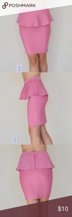 peplum pencil skirt • topshop Cute pink peplum skirt. Worn several times, from top shops 2011 spring! Still in great condition. Very comfortable, cute and versatile!   BUNDLE FOR PRIVATE DISCOUNTS 😉 Topshop Skirts Midi