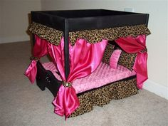 Hot Pink and Leopard Luxury Canopy Dog Bed