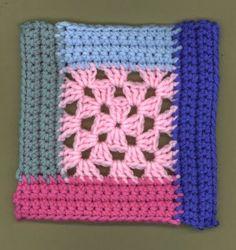 Granny's Cabin Square Motif By Debi Y. - Free Crochet Pattern - (hooksandyarns.blogspot)