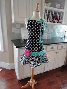 Rosie Black Dot & Aqua Women's Cute Apron by 4RetroSisters