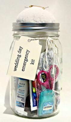 Wedding Day Emergency Kit in a Mason Jar. Great idea for a wedding shower. Mason Jar Gifts, Mason Jars, Diy Wedding, Wedding Day, Party Wedding, Wedding Hacks, Wedding Stuff, Funny Wedding Gifts, Dream Wedding