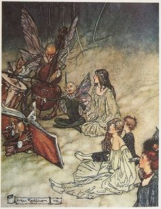 Arthur Rackham Fairy Tale Print Woodland Decor A Midsummer Night's Dream William Shakespeare Arthur Rackham, Illustration Art Nouveau, Children's Book Illustration, Book Illustrations, Fantasy Sketch, Fantasy Art, Face Anime, Fairytale Creatures, Art Simple
