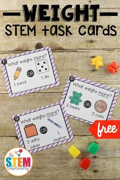 Free STEM challenge cards for kids! Such a fun way to practice weight measurement in kindergarten or first grade. Perfect STEM box or math center too.