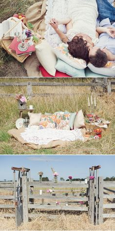 Proposal in a field. Romantic rural setting.