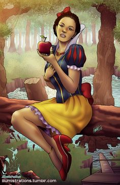 art illustration artwork drawing sketches disney princess princesses snow white illumistrations african american women woman black