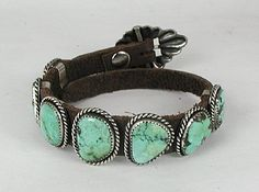 Hand made Native American Indian Jewelry; Navajo Sterling Silver turquoise concho bracelet