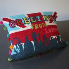 Postcard from London Tapestry Cross Stitch Kit - Copyright Design by Jacqui Pearce, available at JacquiP.com