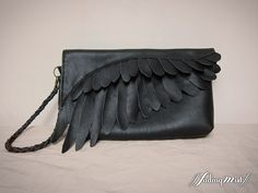 Black Leather Feather Clutch Bag