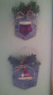 Cute and very simple winter craft idea. I cut out a denim pocket from an old pair of jeans, and a hat and a mitten from an old flannel s. Cowboy Christmas, Noel Christmas, Homemade Christmas, Rustic Christmas, Christmas Sewing, Christmas Projects, Holiday Crafts, Christmas Ideas, Diy Christmas Ornaments