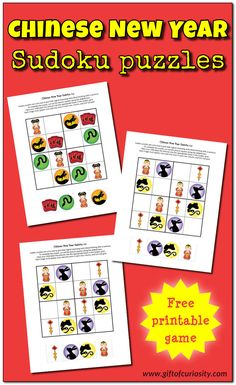 Free printable Chinese New year Sudoku puzzles to welcome in the lunar new year while stimulating children's critical thinking skills. Chinese New Year Activities, New Years Activities, Science Activities For Kids, Travel Activities, New Year Printables, Preschool Printables, Free Printables, Preschool Ideas, Sudoku Puzzles